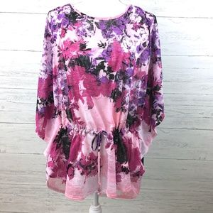 NEW Dressbarn Women's Pink and Purple Floral Tunic
